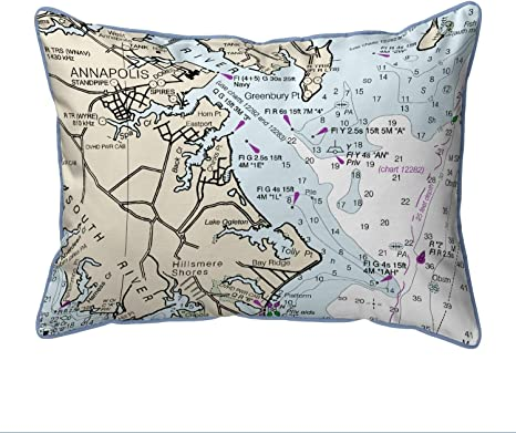 Amazon Com Nautical Map Large Corded Indoor Outdoor Pillow 16x20 Multi Color Graphic Print Coastal Polyester One Water Resistant Home Kitchen
