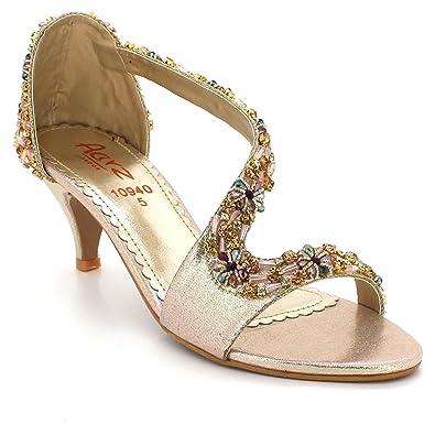 c9744d0da1eac3 AARZ LONDON Women Ladies Crystal Open Toe Evening Party Wedding Bridal Prom  Diamante High Heel Gold