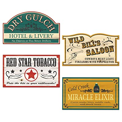Old Style Western Sign Cutouts (4/Pkg): Kitchen & Dining