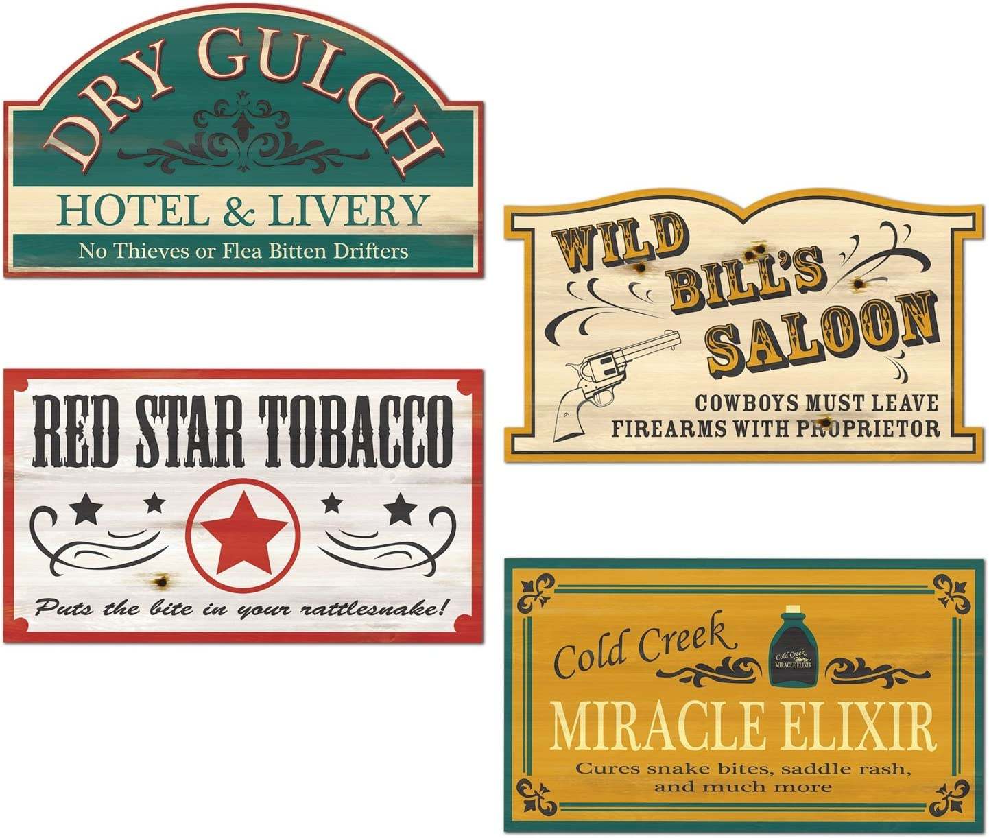 Old Style Western Sign Cutouts (4/Pkg)
