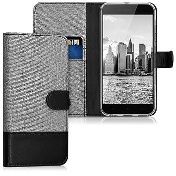 kwmobile Funda compatible con Xiaomi Mi 5X / Mi A1 - Carcasa de tela y [cuero sintético] [tarjetero] [gris / negro]