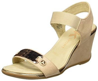 0ec6371531 Anne Klein AK Sport Women's Latasha Fabric Wedge Sandal, Light Natural, ...