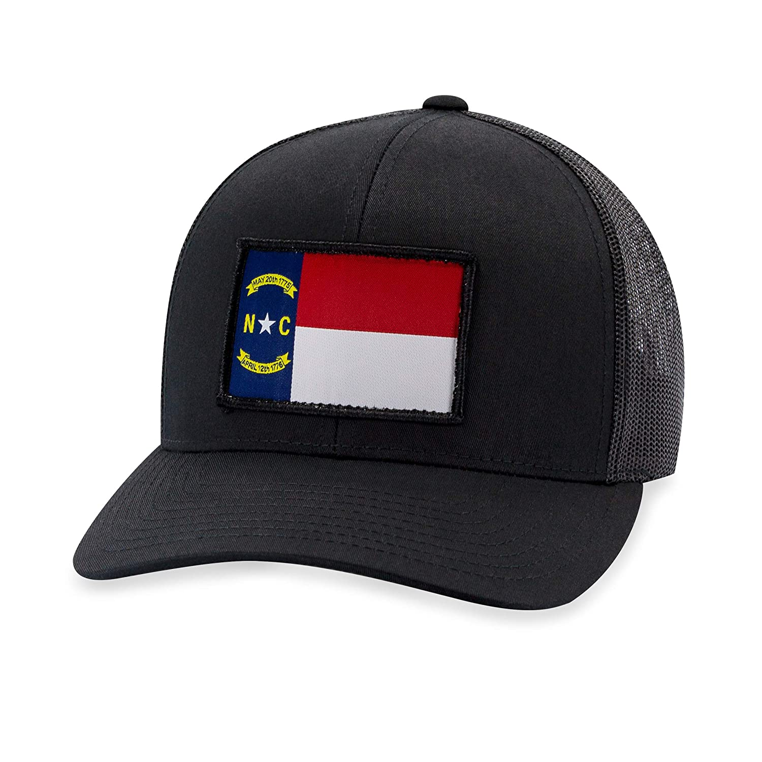 Trucker Mesh Snapback Baseball Cap North Carolina Flag Hat Black