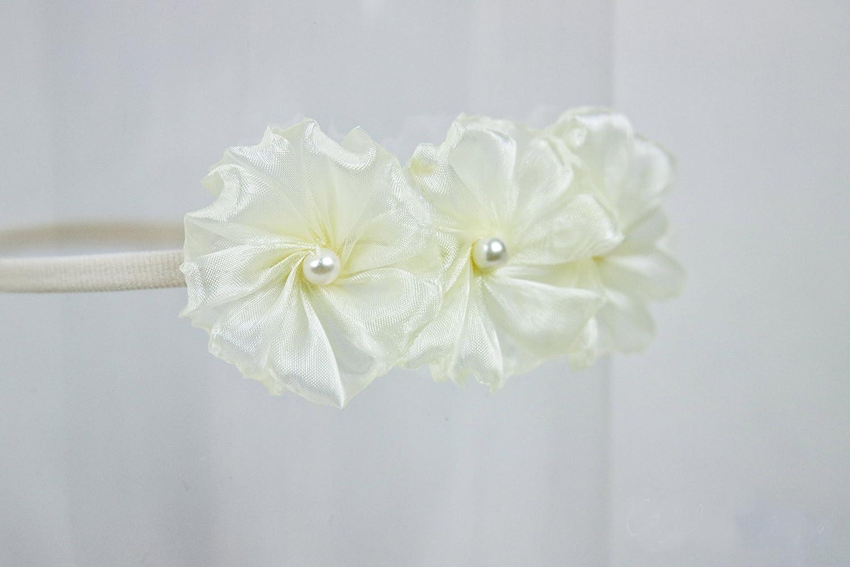 Golden Beam Ivory Flower Girl Headband Baby to Adult Headband 3 Ivory Organza Flowers Handmade Headband