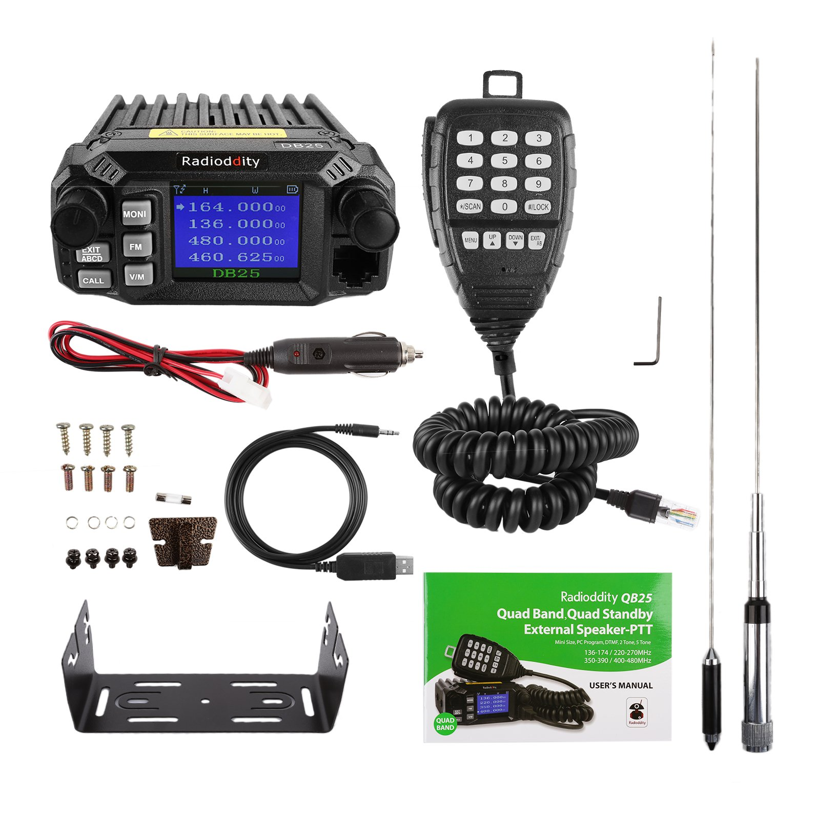 Radioddity QB25 Pro Quad Band Quad-standby Mini Mobile Car Truck Radio, VHF UHF 144/220/350/440 MHz, 25W Vehicle Transceiver with Cable & CD + 50W High Gain Quad Band Antenna by Radioddity (Image #7)