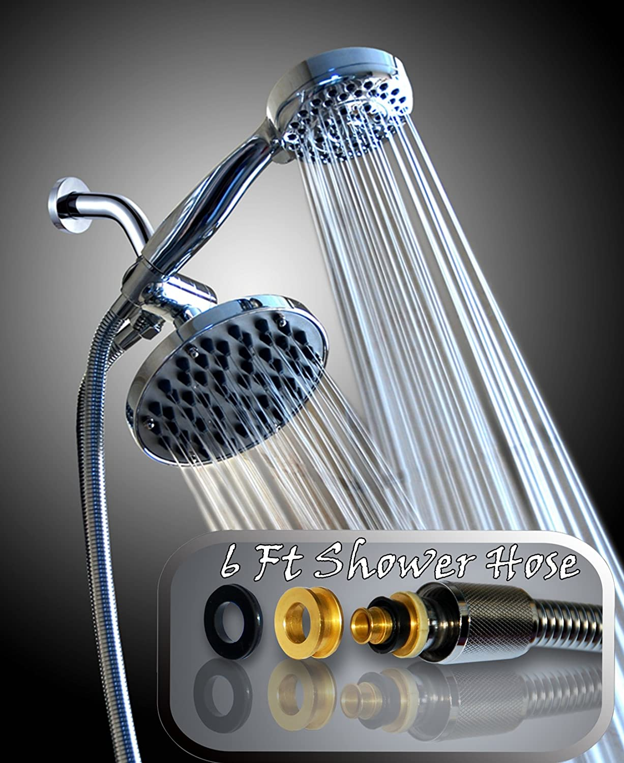 WantBa High Pressure Shower Head Combo with 6 Feet Stainless Steel ...
