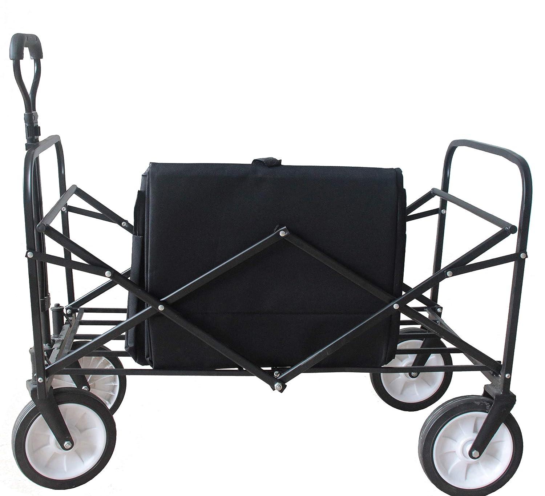 Goutime Faltbarer Bollerwagen mit Teleskopgriff,Gartenwagen f/ür jedes Terrain,klappbar Handwagen der 70 KG standhalten kann