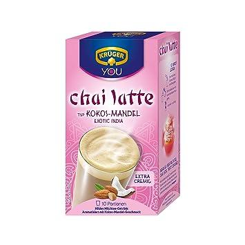 Krüger Chai Latte Exotic India, Coco y Almendras, Bebida Suave de Té con Leche, 10 Bolsitas: Amazon.es: Hogar