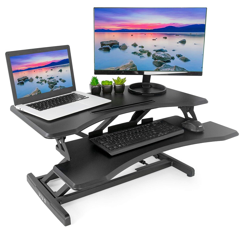 VIVO Small Black Height Adjustable Standing Desk Workstation | Monitor Riser 30 Sit Stand Tabletop Converter (DESK-V000M)