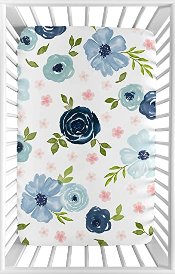 Blue Watercolor Tropical Floral Leaf Girl Clothes Laundry Hamper by Sweet Jojo