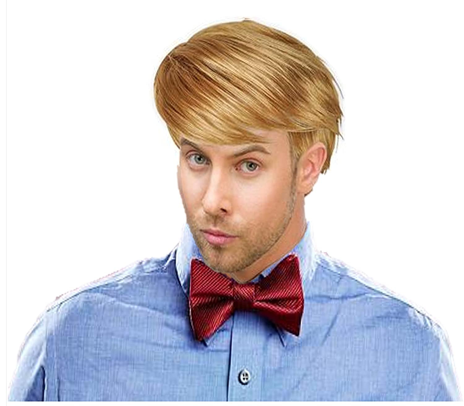 Play Kreative Handsome Short Straight Mens Blonde Wig for Halloween or Costume Party