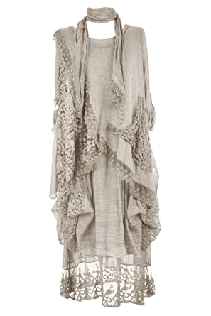53bc76193a4 TEXTURE Ladies Women Italian Lagenlook Long 3 Piece Crochet Pocket Mohair  Wool Knit Scarf Dress One Size Plus (Beige, One Size): Amazon.co.uk:  Clothing