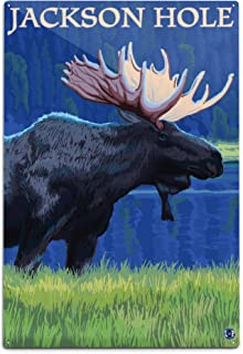 product image for Lantern Press Jackson Hole, Wyoming, Moose at Night (12x18 Aluminum Wall Sign, Wall Decor Ready to Hang)