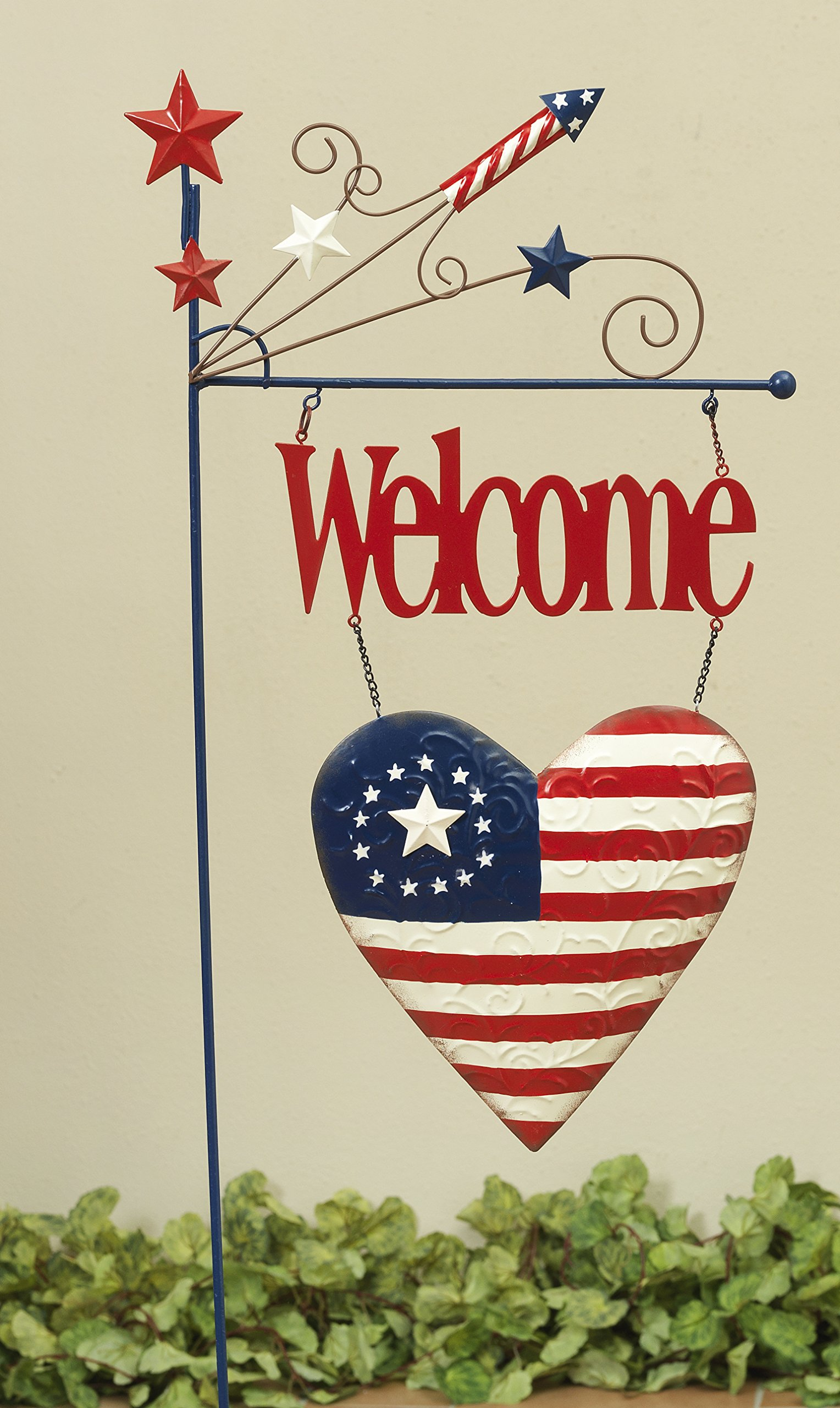 Patriotic Americana Red White and Blue Yard Stake - Outdoor 4th of July Decoration (Welcome)
