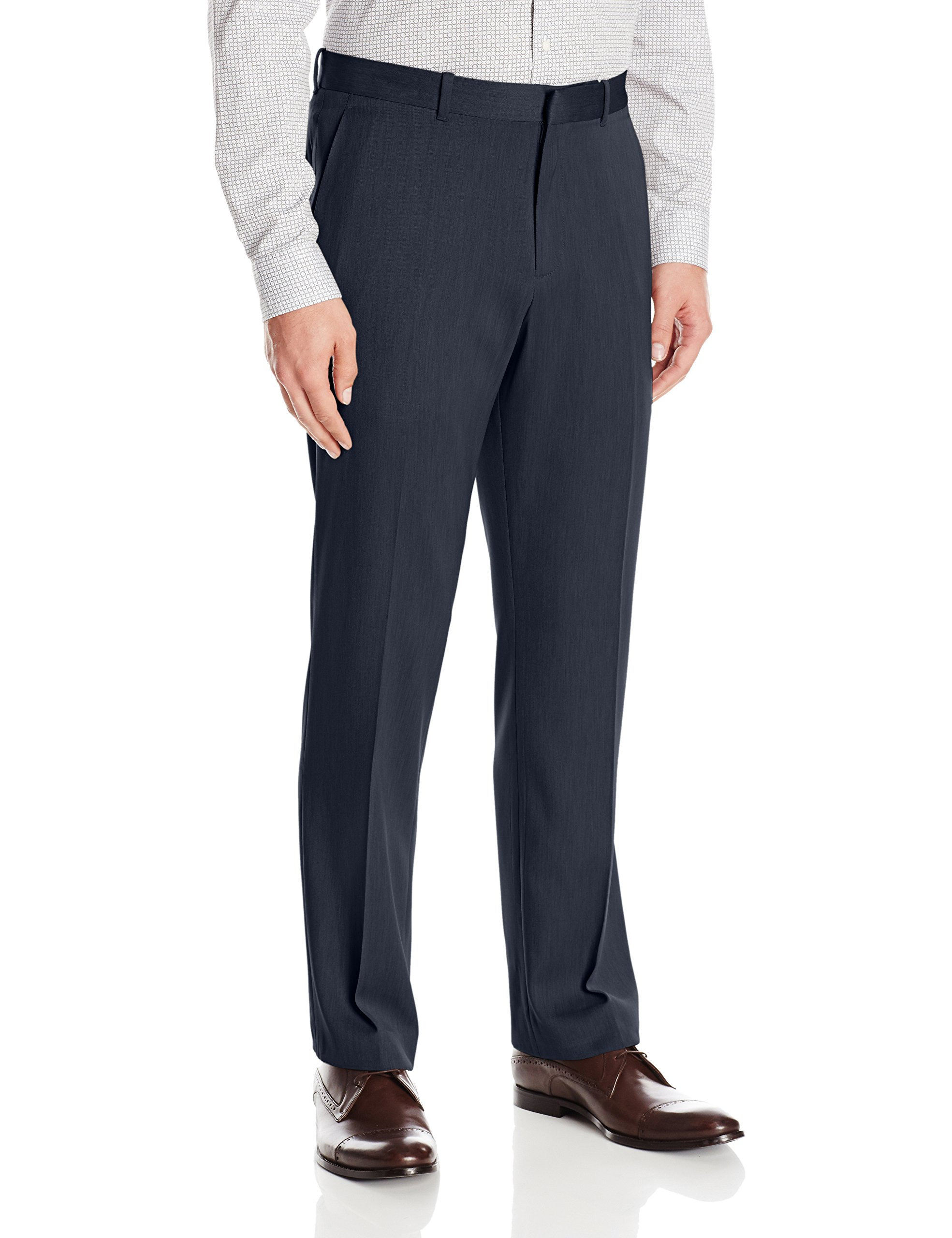 Perry Ellis Men's Flat Front Modern Fit Melange Pant, Twilight, 34x32