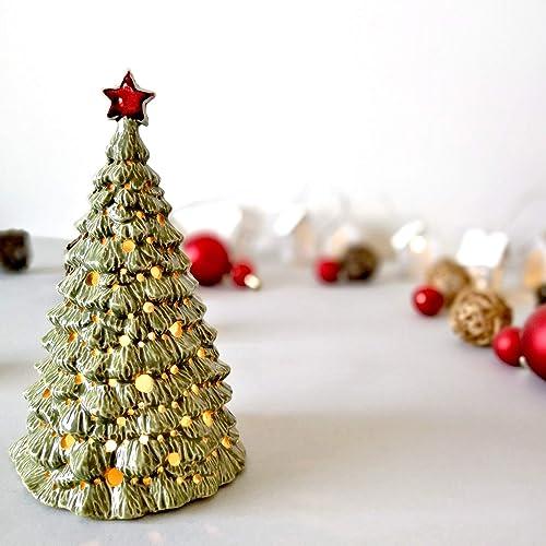 Amazon Com Ceramic Christmas Tree Lantern Night Light House