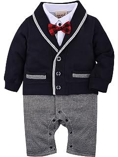 ZOEREA 1pcs bébé Garçon Gentleman Romper Costumes Costume de Smoking Noeud  Papillon Le baptême de Mariage 90743e2f4c2
