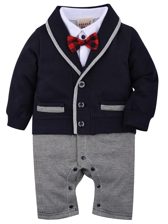 ZOEREA 1pc Baby Boys Tuxedo Gentleman Onesie Romper Jumpsuit Wedding Suit 3-18 M YS1768