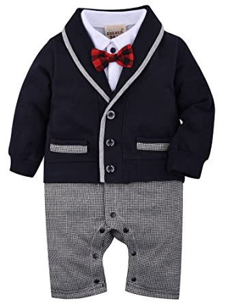 a3f8e63ba ZOEREA Baby Boys Romper Suits Bow Tie Baptism Wedding Tuxedo Jumpsuit  Cotton, Navy, Label