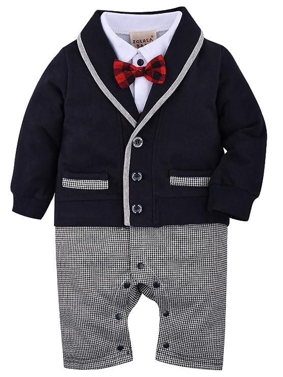 ZOEREA Baby Boys Romper Suits Bow Tie Baptism Wedding Tuxedo ...