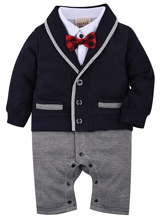 04f1048e18c1 Amazon.com  ZOEREA Baby Boys Romper Suits Bow Tie Baptism Wedding ...