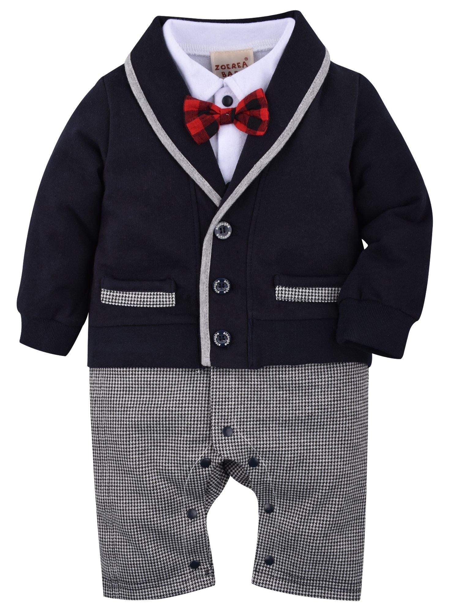 ZOEREA Baby Boys Romper Suits Bow Tie Baptism Wedding Tuxedo Jumpsuit Cotton, 90CM/12-18 Months, Black