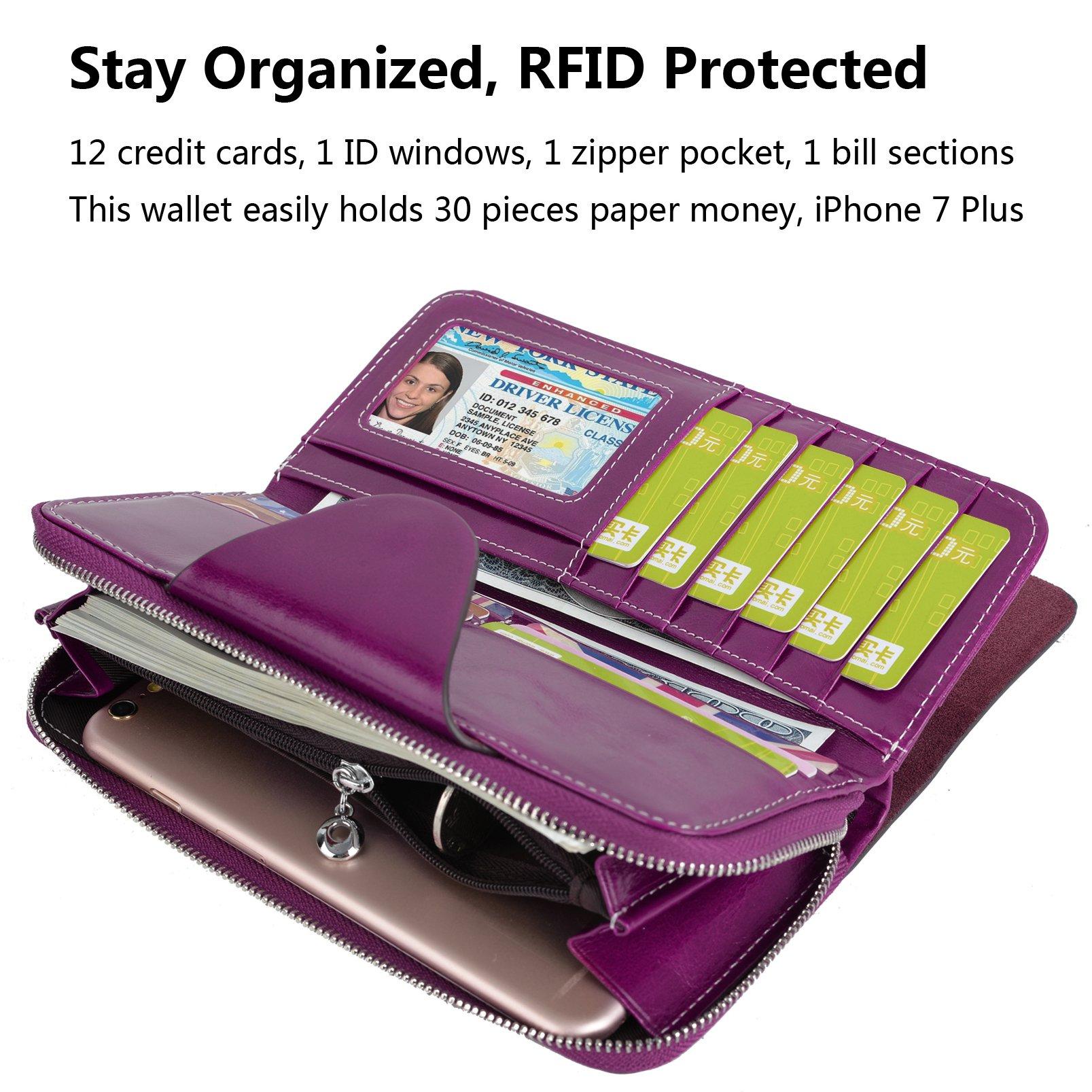 YALUXE Women's RFID Blocking Large Tri-fold Leather Wallet Ladies Luxury Zipper Clutch Fuchsia by YALUXE (Image #5)