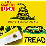 WINBEE Embroidered Gadsden Don't Tread On Me Flag 3x5 Ft with Long Lasting Nylon Double Sewn Stripes and Brass Grommets UV Protected Best 3 by 5 American Tea Party Flag