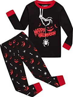 boys halloween pajamas glow in the dark kids spider pyjamas children bones sleepwear