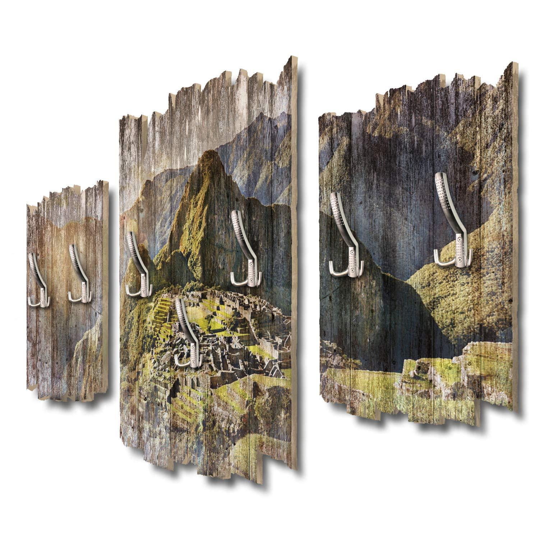 Kreative Feder Machu Picchu Designer Wandgarderobe Flurgarderobe Wandpaneele 95 x 60 cm aus MDF DTGH073