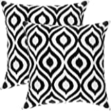 TreeWool, (Pack of 2) Cotton Canvas Ikat Ogee Accent Decorative Cushion Covers (40 x 40 cm, Black & White)