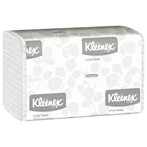 Kimberly-Clark Professional Kleenex C Fold Paper Towels (01500), Absorbent, White, 16 Packs/Case, 150 C-Fold Towels/Pack, 2,400 Towels/Case