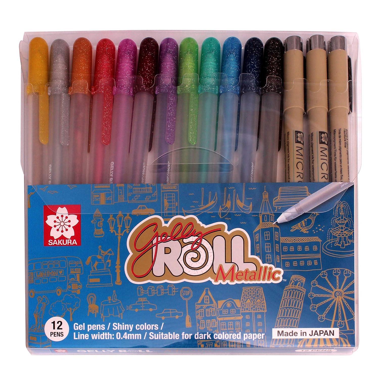 Sakura 12 Colours Ballsign Rollerball Gel Ink pen Set with plastic case Japan