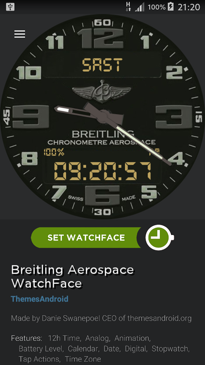 Breitling Aerospace World Timer Watch Face Android wear - Import It All