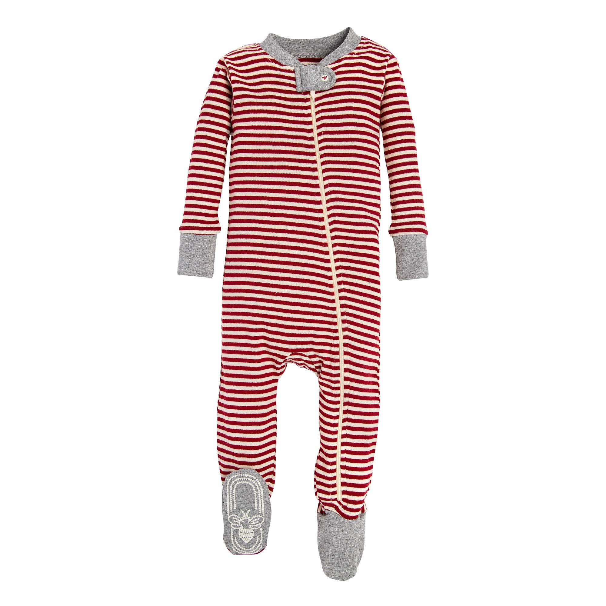 Burt's Bees Baby Baby 1-Pack Pajamas, Zip Front Non-Slip Footed Sleeper PJs, 100% Organic Cotton, Red/White Stripes 12 Months