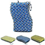 Original good grips cast iron cleaner with wood pulp sponge, faster Chainmail Scrubber for lodge cast iron skillet,cookware,pan,counters, sinks- oil free,pan Scraper for Home and Camping (blue)
