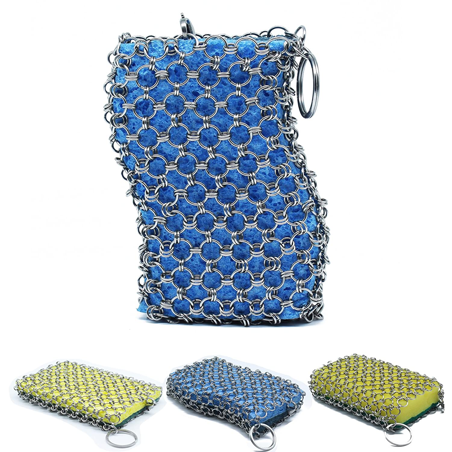 The Original good grips cast iron cleaner with wood pulp sponge, faster Chainmail Scrubber for cast iron skillet,cookware,pan,counters, sinks- oil free,pan Scraper for Home and Camping (blue) REEBENT
