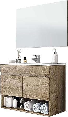 Mueble de baño suspendido de diseño moderno. CON LAVAMANOS de PMMA. El PMMA es un material resultado
