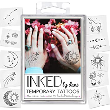 Amazon Com Inked By Dani Temporary Tattoo Designs Cosmic Pack