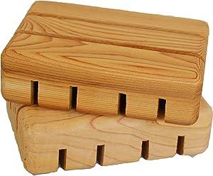 2 Pack - Home Bathroom Wooden Soap Case Holder, Sink Deck Bathtub Shower Dish, Wooden Shower Soap Saver, Hand Craft, 100% Natural Pine Wooden Holder for Sponges, Scrubber - Falls River Soap Company