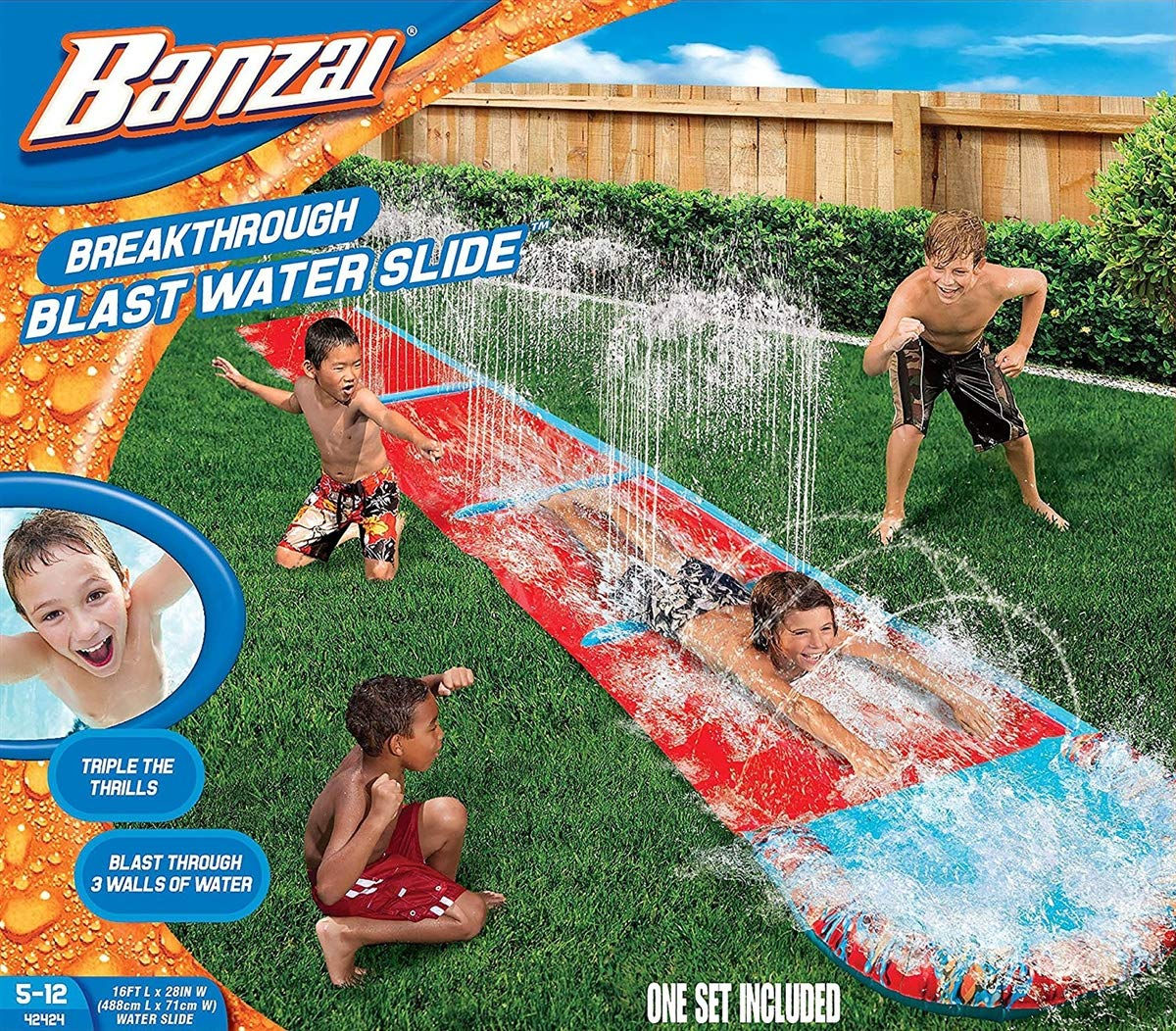 BANZAI 16ft x 28in Breakthrough Blast Water Slide (Single Slide) by BANZAI
