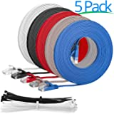 """Multi Cable SLIM FLAT 2m Cat6 RJ45 Ethernet Network Patch Lan cable - Multi Coloured """"5 Pack"""" - 2 meter + 15 Cable ties"""