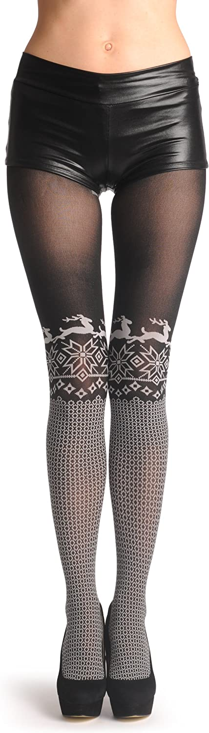 White Snowflakes and Reindeers Over The Knee On Black 80 Den T001614
