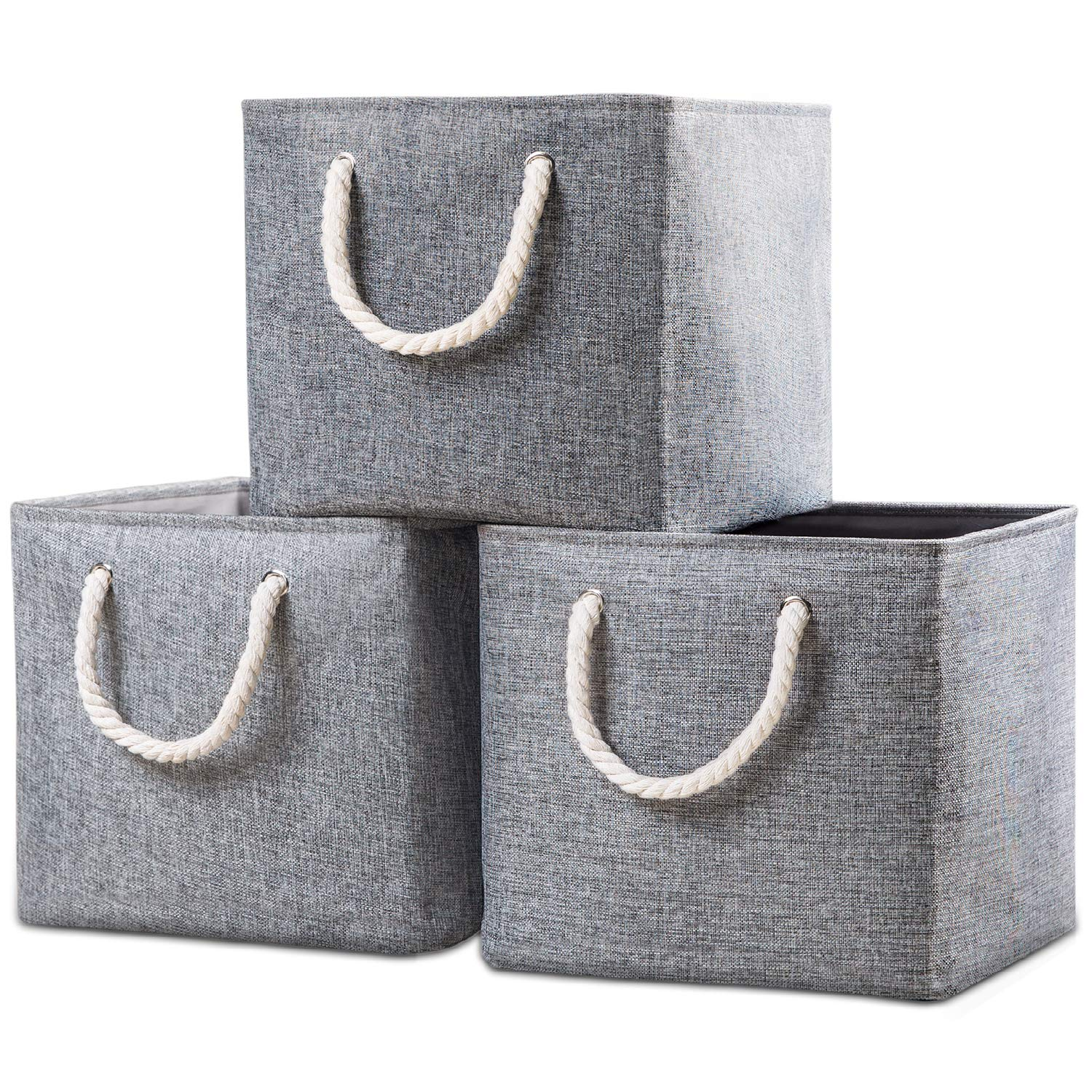 Prandom Large Foldable Cube Storage Baskets Bins 13x13 inch [3-Pack] Fabric Linen Collapsible Storage Bins Cubes Drawer with Cotton Handles Organizer for Shelf Toy Nursery Closet Bedroom(Gray) by Prandom