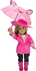 """Dress Along Dolly Rainy Day Outfit Set for American Girl and 18"""" Dolls (6 Piece Set)- Includes Raincoat, Umbrella, Boots, Hat, and Shirt"""
