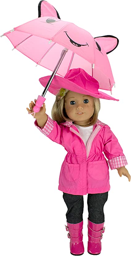 "American Girl MY AG RAINY DAY SET for 18/"" Dolls Umbrella /& Boots Pink Gear NEW"