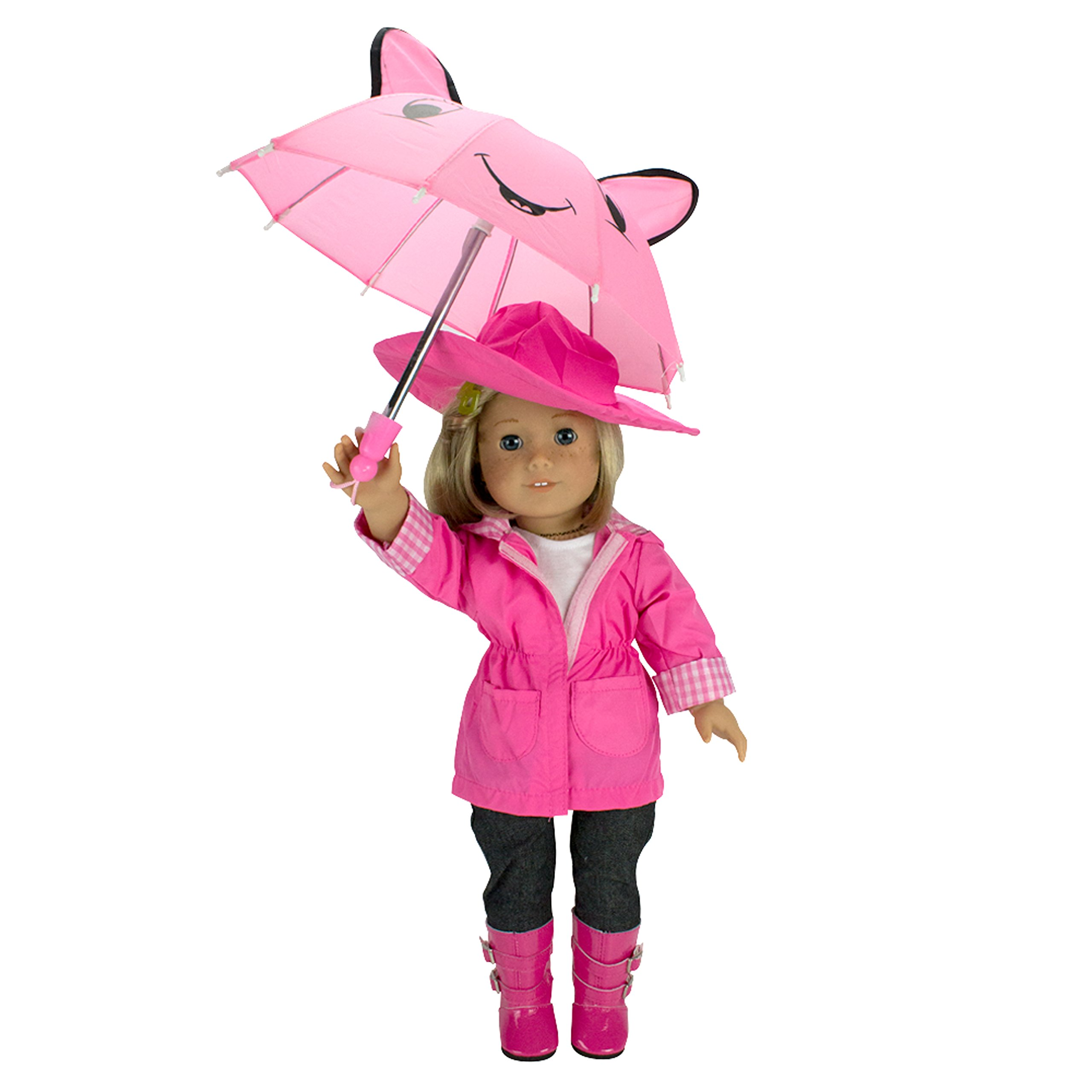 Dress Along Dolly Rainy Day Outfit Set For American Girl and 18'' Dolls (6 Piece Set)- Includes Raincoat, Umbrella, Boots, Hat, and Shirt