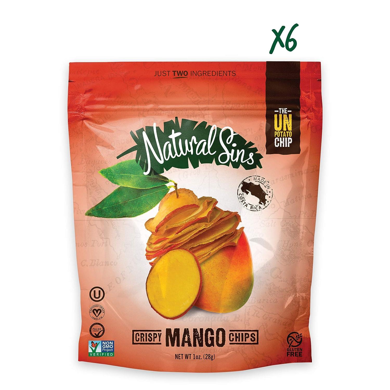 b5c6d1c911366 Natural Sins Baked Mango Chips   1 Ounce Bag (Pack of 6)   Vegan ...