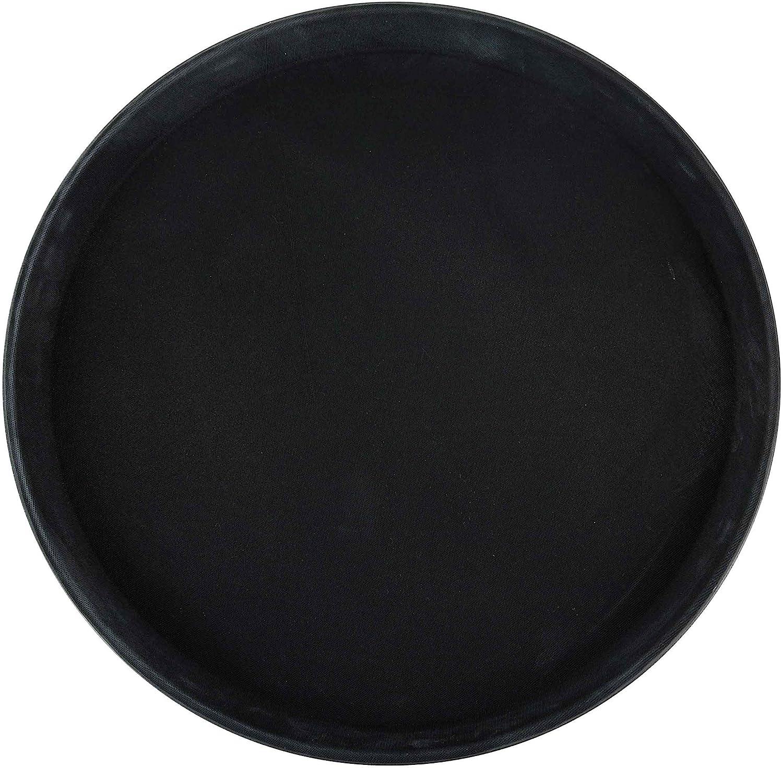 Winco Round Fiberglass Tray with Non-Slip Surface, 11-Inch, Black