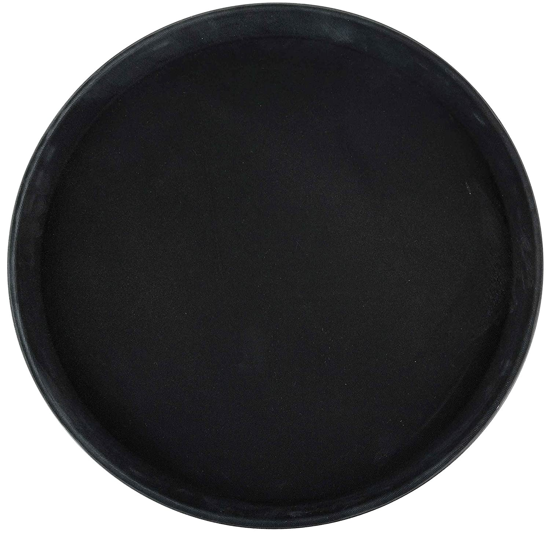 Winco Round Fiberglass Tray with Non-Slip Surface, 11-Inch, Black Winco USA TFG-11K